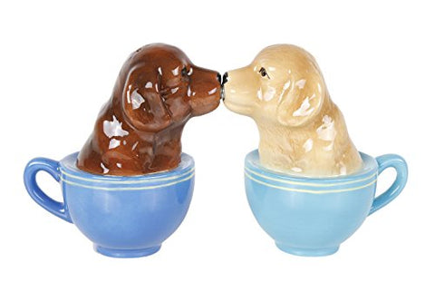 Kissing Labrador Puppies in Tea Cup Salt and Pepper Shaker Set Cute Labradors Tabletop Decoration SP Set