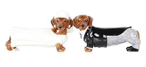 Lovely Wedding Bride and Groom Doxies Salt and Pepper Shaker Set Cute Dachshund Wiener Dog Tabletop Decoration SP Set