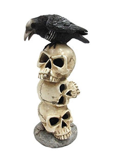 Raven Sitting on Top of LED Lighted Skulls Halloween Decor Collectible Figurine
