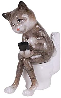 Pacific Giftware Exclusive Lazy Cat Figurine, Hiding Inside The Restroom to Play with Cell Phone on Top of Toilet