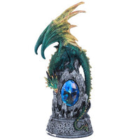 Middle Earth Wizard Casting Spells with Guardian Dragon Towering Over Sorcery Mountain Collectible Figurine 12 Inch