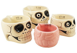 Spooky Halloween Haunted Skull and Brains Nesting Measuring Cup Set of 4 Creative Kitchen Decor
