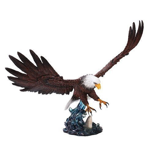 Colored Grand Bald Eagle Patriotic Bird Figurine Made of Polyresin