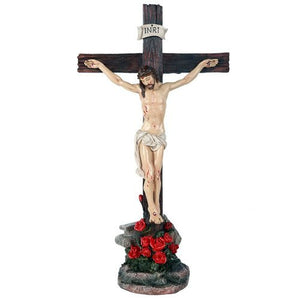 Crucifix Jesus on Cross Catholic Religious Collectible Tabletop Decor Gift 15 inch
