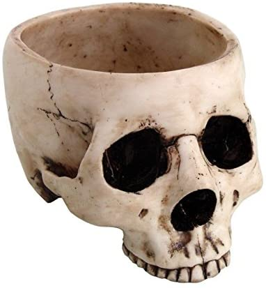 6.75 Inch Ceramic Open Skeleton Skull Figurine Medium Bowl, Beige