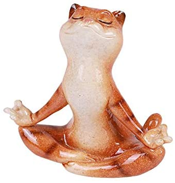 Pacific Giftware Exclusive Lovely Cat Mediating Yoga Pose Pet Resin Figurine Home Decor Statue