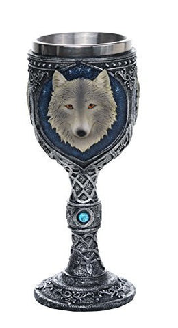Lone Alpha Gray Wolf Celtic Magic Wine Chalice Goblet