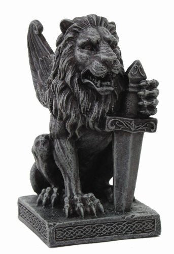 6.06 Inch Winged Lion Gargoyle with Battle Sword Statue Figurine