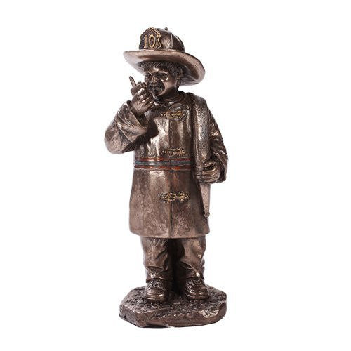 Child Dressed Like Fireman Collectible Statue Made of Polyresin