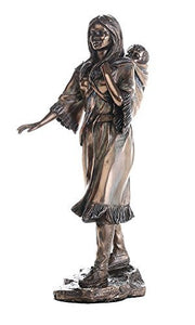 Native American Sacagawea Holding Child Collectible Figurine 8 Inch Tall