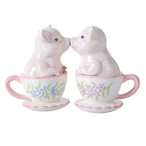 Kissing Pig  Couple Ceramic Stoneware Salt and Pepper Shaker Set