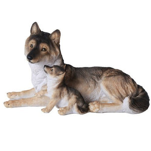 Grey Wolf with Pups Wildlife Collection Figurine