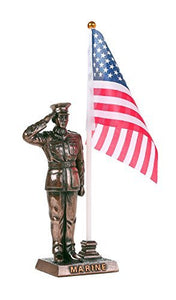 USMC Cold Cast Bronze Marine Officer Salute Stars and Stripes Honoring America's Finest Desktop Pen Holder Decorative Figurine