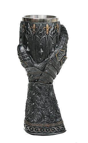 "Medieval Knight Lions Heart Gauntlet Style Wine Goblet 9"" H"