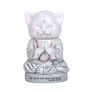 Master Meow Meditation Cat Ceramic Cotton Box Container