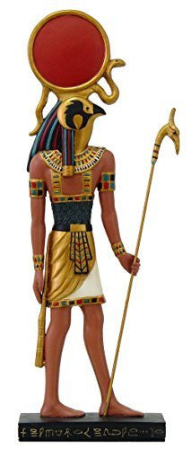"Ancient Egyptian Hieroglyph Inspired Sun God Ra Collectible Figurine 10"" Tall"