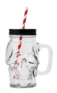 Novelty Glass Skull Face Drinking Mug Mason Jar with Glass Handles 18oz with Lid and Straw
