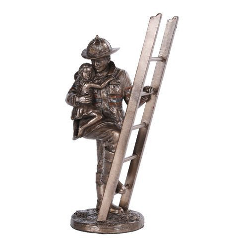 Fireman Rescue Collectible Statue Made of Polyresin