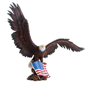 American Eagle with American Flag Stars and Stripes Old Spangled Banner Statue Wood Base Figurine Home Decor Gift 18 Inch