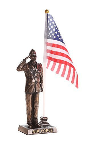 US Air Force Cold Cast Bronze Officer Salute Stars and Stripes Honoring America's Finest Desktop Collectible Pen Holder