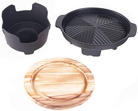 7 Inch Diameter Yakiniku Grill with Wooden Trivet and Burner Stove for Single Serving