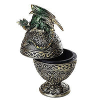 Dragon Protector of the Golden Celtic Egg Orb Sculptural Box Collectible 6.5H