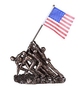 Iwo Jima US Marine Corps Memorial Statue Replica 12 inch L Cast Bronze Finish