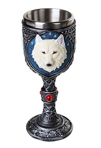 Lone Spirit White Wolf Celtic Magic 7oz Wine Chalice Goblet with Red Gemstone