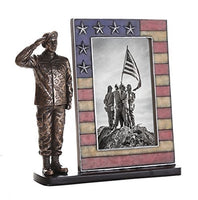 US Army Cold Cast Bronze Army Officer Salute Stars and Stripes Honoring America's Finest Desktop Sculptural Photo Frame