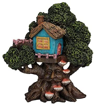 Pacific Giftware PT Greenman Mushroom Treehouse Decorative Garden Statue
