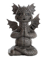 Garden Dragon Meditating Yoga Dragon Garden Display Decorative Accent Sculpture Stone Finish 10 Inch Tall