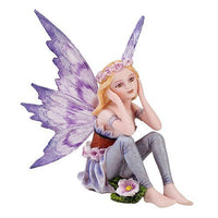 Small Meadowland Tribal Purple Periwinkle Flower Girl Fairy Daydreaming Figurine