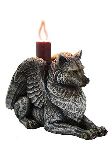 Winged Gargoyle Wolf Candle Holder Collectible Figurine 3.75 Inches Tall