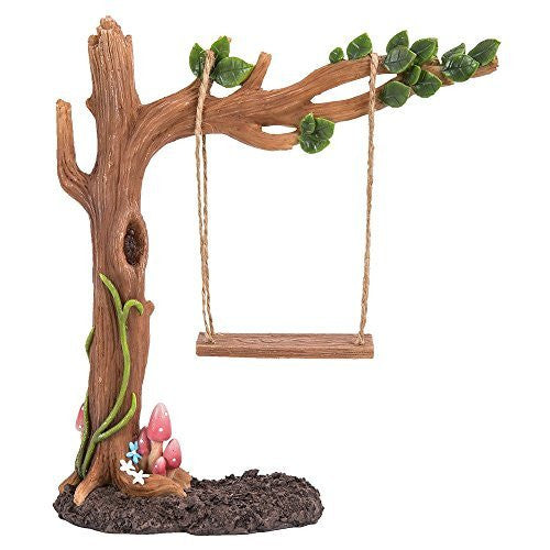 Miniature Fairy Garden of Enchantment Fairy Tree Swing Display 7 Inches