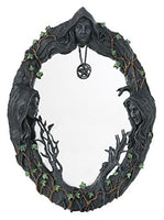 "Mother Maiden Crone Triple Goddess Mirror with Amulet 17.5"" H"