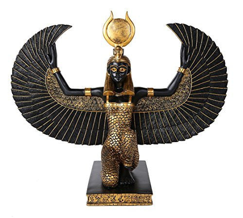 Large Egyptian Goddess Isis With Open Wings Decorative Statue 15 Inch Tall Collectible