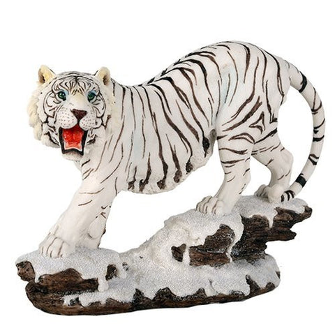Wildlife White Siberian Tigers Trotting On Snowcap Rocks 11 Inch Collectible Figurine Statue Home Decor Gift