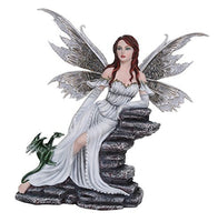 Large Fantasy Fairy with White Dragon Figurine Fairyland Legends Decorative Statue 15 Inch H