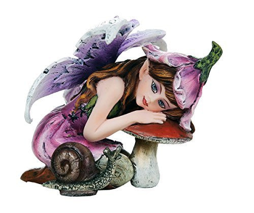 Fairy Garden Flower Fairy with Toadstool and Snail Decorative Mini Garden of Enchantment Figurine 3 Inch