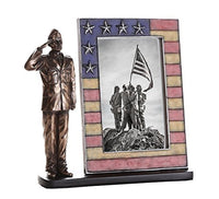 US Air Force Cold Cast Bronze Air Force Officer Salute Stars and Stripes Honoring America's Finest Desktop Sculptural Photo Frame