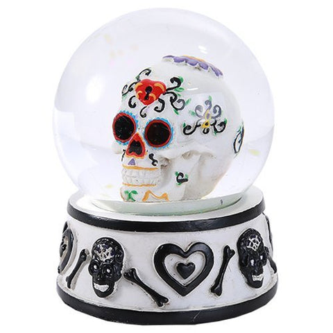 Day of the Dead Sugar Skull Head Water Globe 80mm Home Decor Gift Collectible
