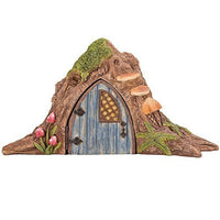Miniature Fairy Garden of Enchantment Fairy Tree Trunk Cottage with Door Figurine Display 4.75 Inches
