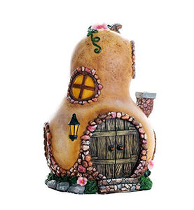 Miniature Fairy Garden of Enchantment Fairy Gourd Cottage Figurine Display 6.5 Inches