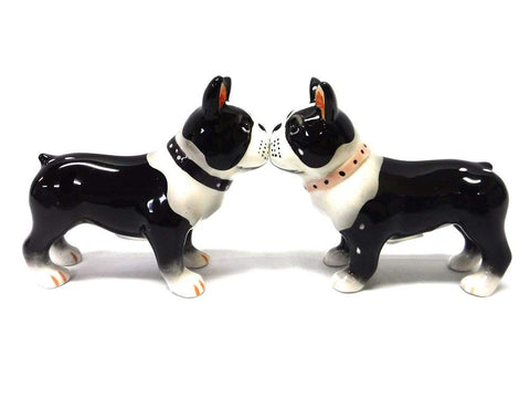 Boston Terrier Pups Ceramic Magnetic Salt and Pepper Shaker Set