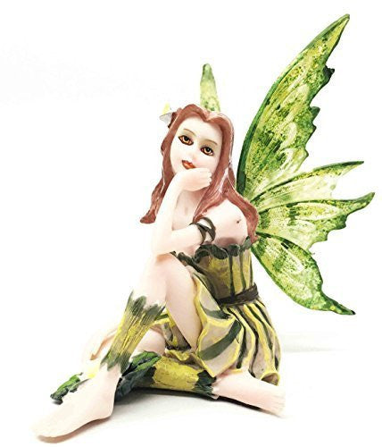 Small Meadowland Tribal Green Barberry Flower Girl Fairy Daydreaming Figurine