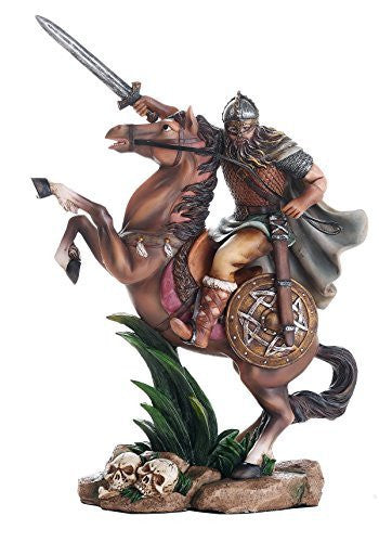 Ancient Nordic Viking Warrior on Horse Ready for Battle Collectible Figurine 10 Inch Tall