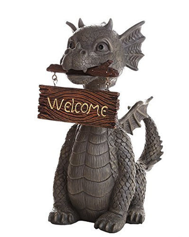 Garden Dragon Welcome Dragon Garden Display Decorative Accent Sculpture Stone Finish 10 Inch Tall