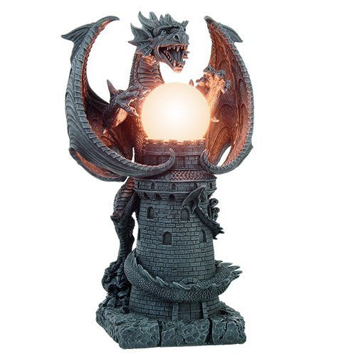 Stone Castle Guardian Dragon Illuminated Orb Wing Sculptural Floor Table Lamp 19 Inch H