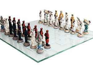 World War 2 Themed Battle of Pearl Harbor Chess Set US vs Japan Hand Painted with Glass Board