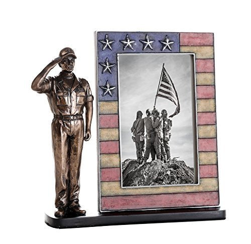 US Coast Guard Cold Cast Bronze Coast Guard Salute Stars and Stripes Honoring America's Finest Desktop Sculptural Photo Frame